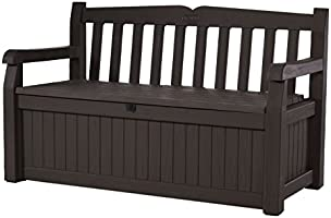 Keter Eden 70 Gallon Storage Bench Deck Box for Patio Furniture, Front Porch Decor and Outdoor Seating – Perfect to...