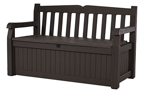 Keter Eden 70 Gallon Storage Bench Deck Box for Patio Furniture, Front...