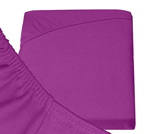 Double Jersey – Spannbettlaken 100% Baumwolle Jersey-Stretch bettlaken, Ultra Weich und Bügelfrei mit bis zu 30cm Stehghöhe, 160x200x30 Prune - 6