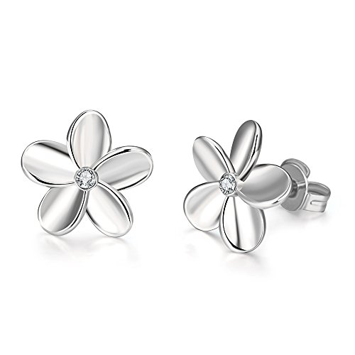 14K White Gold Cubic Zirconia Rhinestone Flower Studs Earring for Women Girls Love Knot Hypoallergenic for Sensitive Ears Set