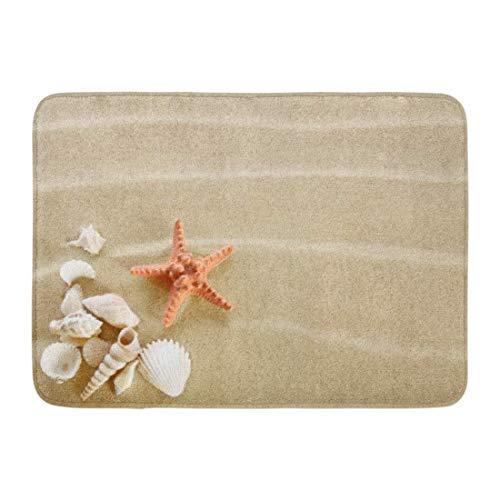YnimioHOB Fußmatten Badteppiche TaPpetino für Outdoor/Indoor Seesterne und Muscheln am Sandstrand Ozeanmotiv Riva Cancun Badmöbel Teppich Badematte