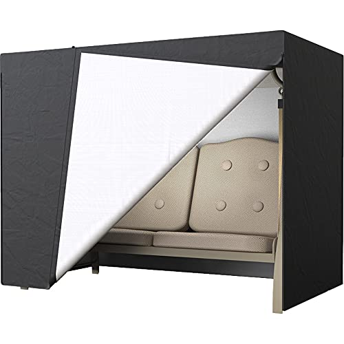 Cubierta impermeable para asiento de jardín y patio de exterior con protección UV para 2/3 asientos, cubierta para hamaca, parasol negro (2 asientos)