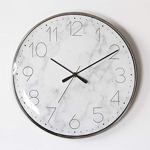 Luyshts Simple Reloj De Pared De Cristal Arqueado Movimiento Silencioso Patrón De Mármol Reloj Redondo Sala De Estar Digital Dormitorio Decoración De Pared Reloj