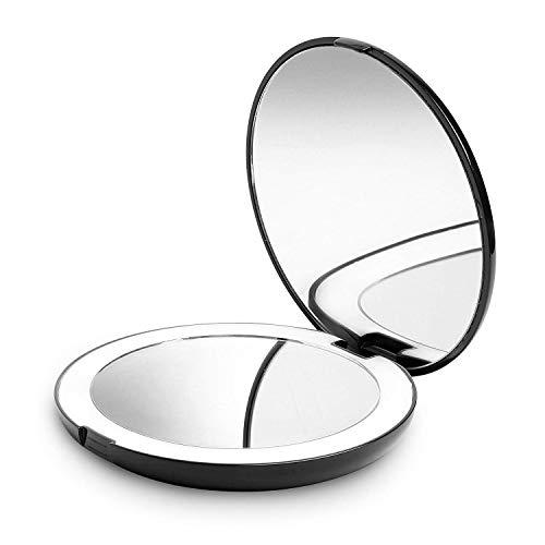 Anjing Miroir de Maquillage de Voyage avec éclairage LED Grossissement Lumière du Jour Compacte Portable Grand Grand Miroir éclairé Noir