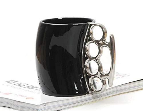 Kreative Tasse Schlagring Tasse Keramik Kaffee Becher Porzellan Kaffee Becher Mit Messing Knuckle Neuheit Geschenke Kaffee,Black