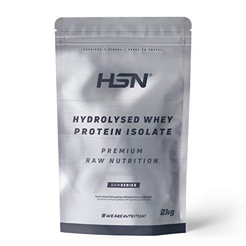 Proteína Hidrolizada Sin Lactosa de HSN | Hydrolysed Whey Protein Isolate | Proteína de Suero Hidrolizado Aislada | Batido para Ganar Masa Muscular, | Vegetariano, Sin Gluten, Sin Sabor, 2 Kg