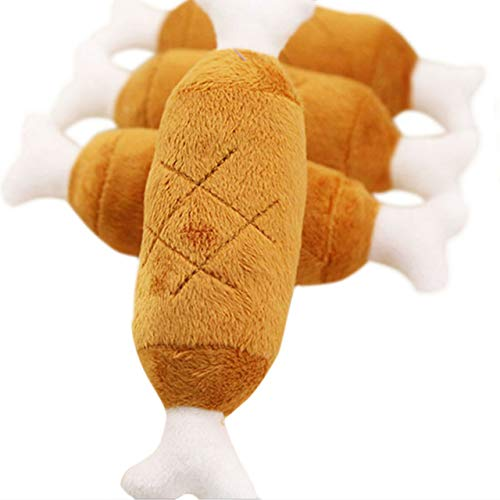 Gouen 1Pcs Hondenspeelgoed Natuurlijke Tandenbeet Puppy Kauwspeeltjes Chew Squeaker Piepend Pluche Bot Geluid Kip Voor kleine honden Huisdieren, 1Pcs, Ongeveer 15cm