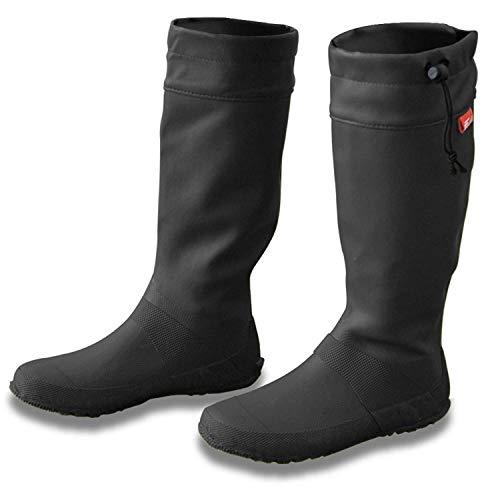 [フィールドア] レインブーツ 【27cm / ブラック】 収納袋付 男女兼用 メンズ レディース キッズ 長靴 ドローコード コンパクト収納