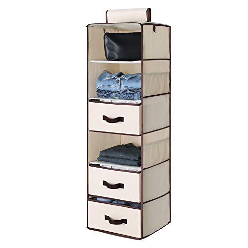 "StorageWorks 6-Shelf Hanging Closet Shelves, Hanging Closet Organizer with 3 Drawers, Canvas, Beige, 13.6""W x 12.2""D x 42.5""H"