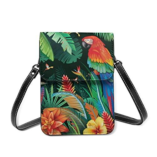 Bolso bandolera para mujer con diseño de flores tropicales y hojas de loro, ligero con soporte para tarjetas, color Blanco, talla Talla única