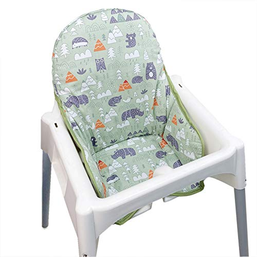 IKEA Antilop Highchair Cotton Seat Covers by ZARPMA,Cotton Surface and Cotton Padded,Forest Pattern Foldable Baby Highchair Cover IKEA Child Chair Cushion (Green Forest)