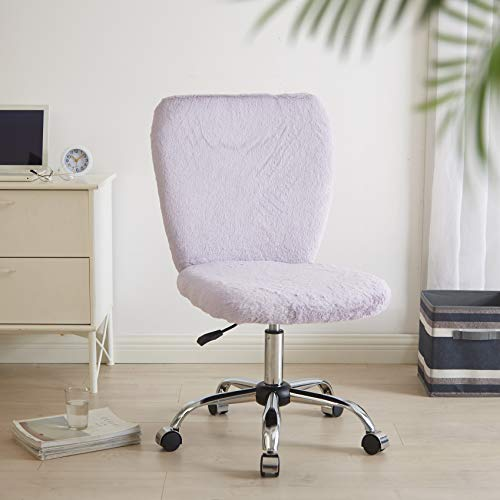 Urban Shop Rabbit Faux Fur Rolling Computer Desk Chair, Lavender