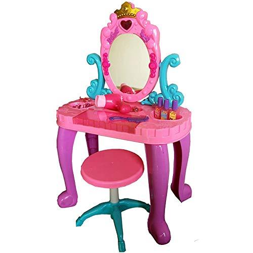 TikTakToo Schminktisch Frisiertisch für Kinder Mädchen Hocker Spiegel Rosa Kosmetiktisch Kosmetik Kinderschminktisch Prinzessin mit 14 teiligem Zubehör