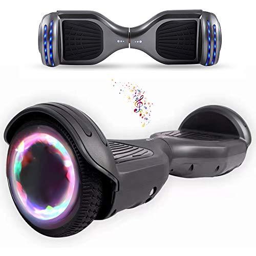 Wind Way Hover Board 6,5 Pouces - Bluetooth - Puissance 700W - Overboard LED - Skateboard Auto Equilibrage - Balance Board Tout Terrain Adulte - Enfant Cadeau Pas Cher - Gris