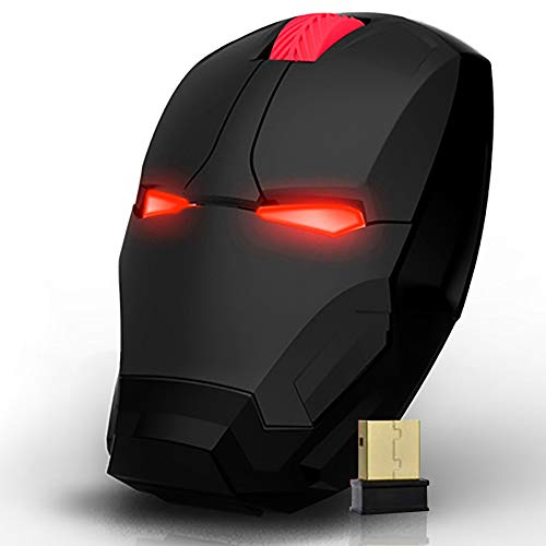 Wireless Super Hero Iron/Man Computer Mouse 2.4G Full Size Optical Gaming Mice with Nano USB Receiver,3 Adjustable DPI Levels, Portable Mobile Click Silent Mouse for Notebook, PC, Laptop (Black)