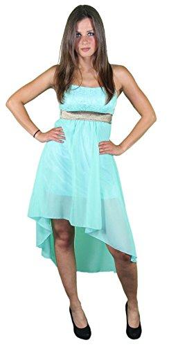 Sexy Sommer Bandeau Kleid für Dmane mit Vokuhilaschnitt Cocktailkleid Partykleid Mint-grün XS