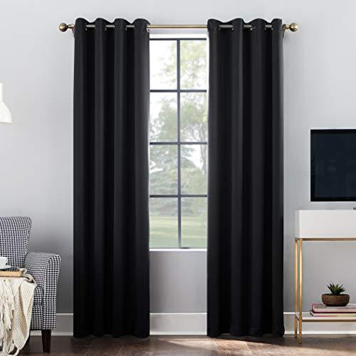 "Sun Zero Oslo-Gr Theater Grade Extreme 100% Blackout Grommet Curtain Panel, 52""x84"", Black"
