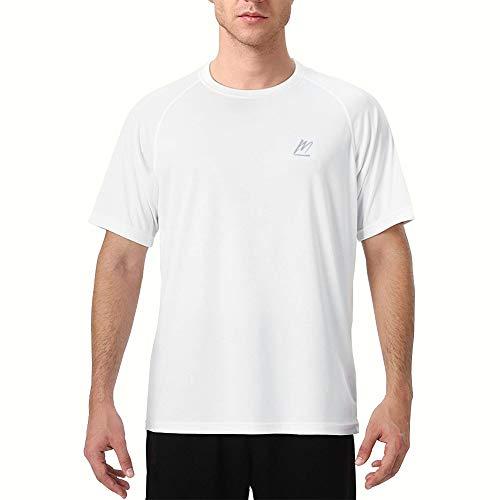 MeetHoo Rash Guards Uomo, Manica Corta Maglietta Sportiva Maglia Protettiva Anti UV Magliette Sportive T-Shirt Short Sleeve Maglie Piscina Running, Protezione Solare UV (UPF) 50+