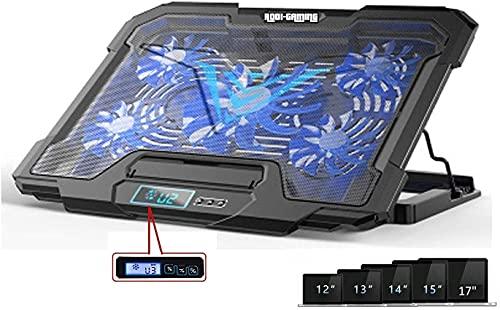 Base Raffreddamento Supporto PC per Notebook portatile con 5 Ventole e 2 Porte USB LED Fino a 17   Il più Potente Supporto con Azione Rapida Rodi Gaming Laptop Stand Blu Nuova Versione 2021
