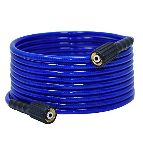 """YAMATIC Ultra Flexible Pressure Washer Hose 1/4"""" x 25 ft with M22-14mm Brass Connector Fit Gas Power Pressure Washer"""