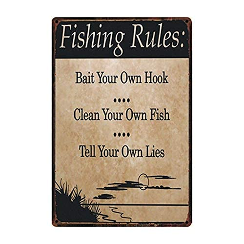 Cartel de metal con reglas de pesca de estilo vintage para decoración del hogar, bar, decoración del hogar, decoración del hogar, mural retro, dimensiones 20 x 30 cm