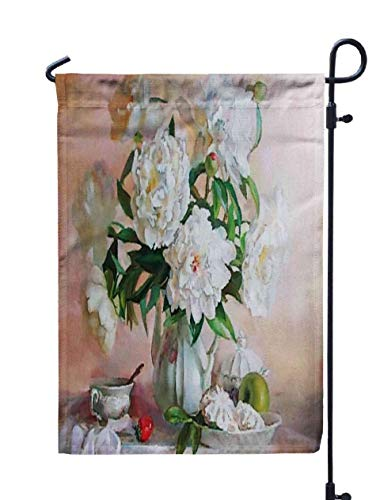 Musesh Welcome Garden Flag,Drawing Oil Flowers Still Life Painting White Roses for Home Outdoor Decorative with Double-Sided Printing