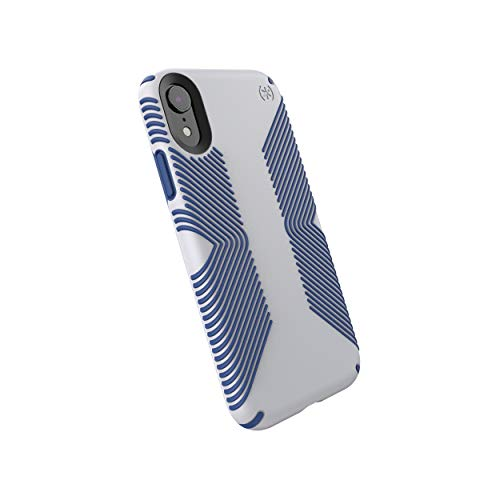 Speck Products Compatible Phone Case for Apple iPhone XR, Presidio Grip Case, Microchip Grey/Ballpoint Blue