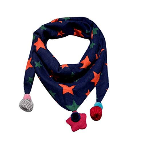 Allence Kinder Schals Niedlich Dreieckstuch aus Baumwolle mit Haarball, Warmer und Winddicht Halstücher für Winter Verschiedene Farben