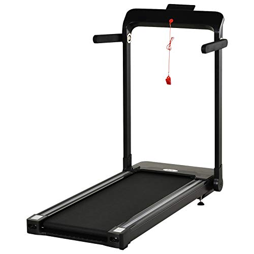 HOMCOM 600W Electric Motorised Folding Treadmill Running Machine 5 Level Speed Up To 12km/h w/Safety Button LCD Monitor Home Office Jogging Fitness Workout Black