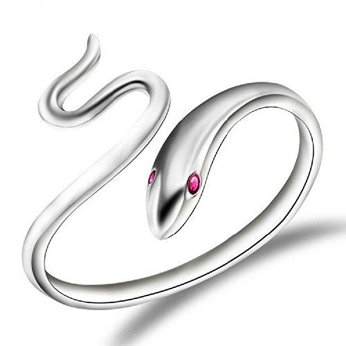 Plateado Abrir La Serpiente Anillo Tamaño 17 3/4 (Es) 8 (Us) Ajustable Pulgar Envolver Serpiente Rojo Ojos Bobina
