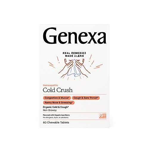 Genexa Cold Crush - 60 Tablets | Certified Organic & Non-GMO, Physician Formulated, Homeopathic | Cough & Cold Medicine