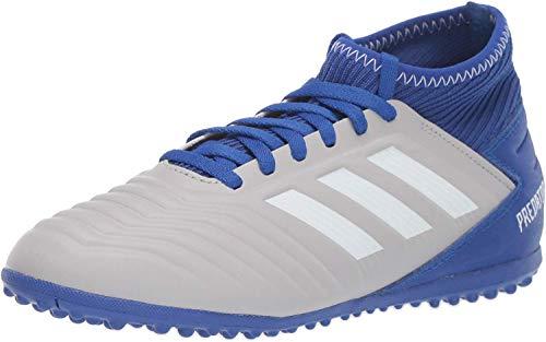 adidas Unisex-Kid's Predator 19.3 Turf Soccer Shoe, Grey/White/Bold Blue, 4 M US Big Kid