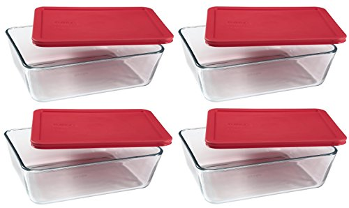 PYREX Containers Simply Store 6-cup Rectangular Glass Food Storage Red Plastic Covers  Pack of 4 Containers