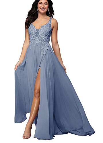 Yilis Women's V-Neck Beaded Lace Bodice Long Bridesmaid Dress A-line Formal Prom Gown Dusty Blue US2
