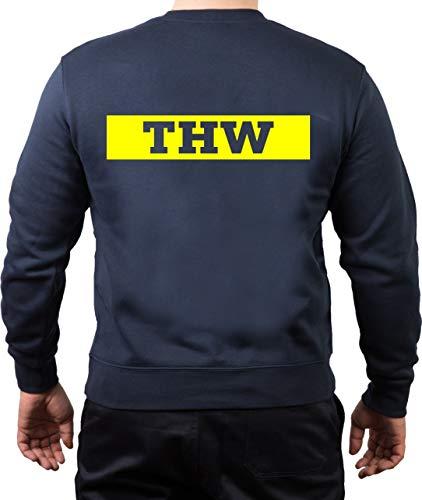 FEUER1 Sweatshirt Navy THW (Negativschrift) mit Zahnrad Neongelb L
