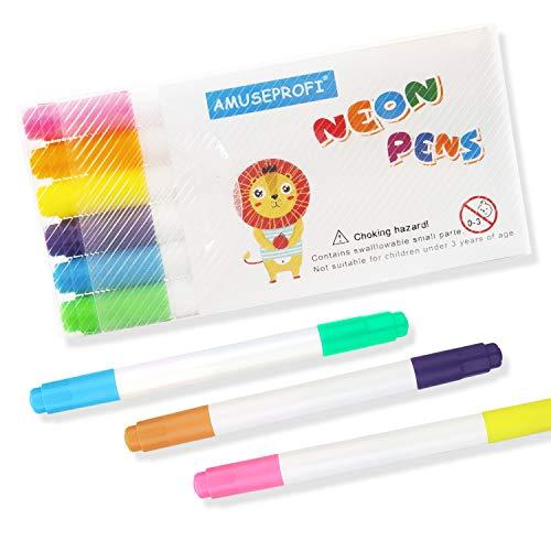 Neon-Marker mit Doppelspitze, Marker für LED Board, Light-Up Tracing Pad, Zeichentafel, Glasmarker, 6 Stück