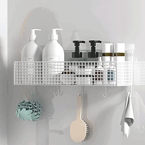 MYWA Estante Ducha Acero Inoxidable 304 Sin Taladro Estante de baño montado en la Pared con Adhesivo Aluminio Estanteria Organizador, para Inodoro, Dormitorio y cocinaSingle Layer-White