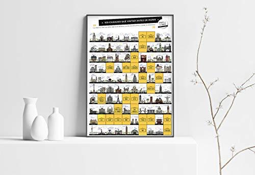 Enjoy Maps 100 Ciudades Que VISITAR Antes DE Morir, Multicolor, 45X65 cm