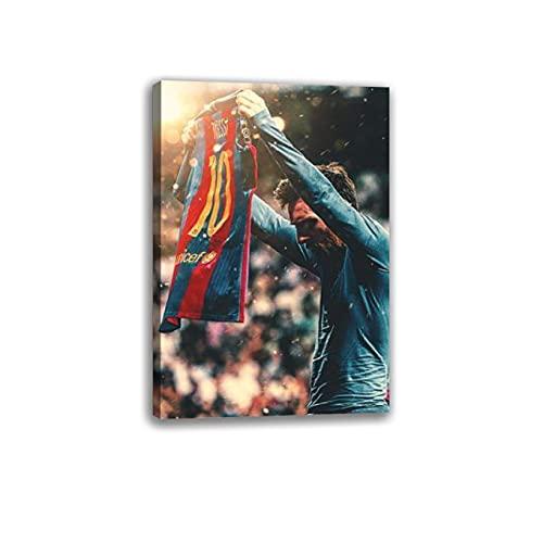 Calcio superstar Messi mostra la sua maglia HD Poster Poster Pittura Decorativa Tela Wall Art Soggiorno Poster Camera Da Letto Pittura