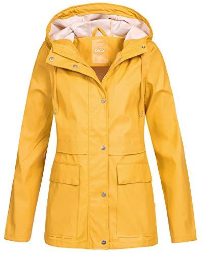 Chaqueta amarilla de lluvia para mujer