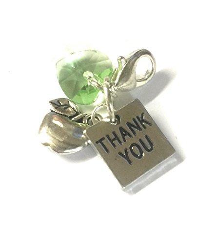 'Thank You' para pulsera con carcasa rígida Apple Charm and verde de cuentas de cristal en caja de regalo de mercado de lugar Libby