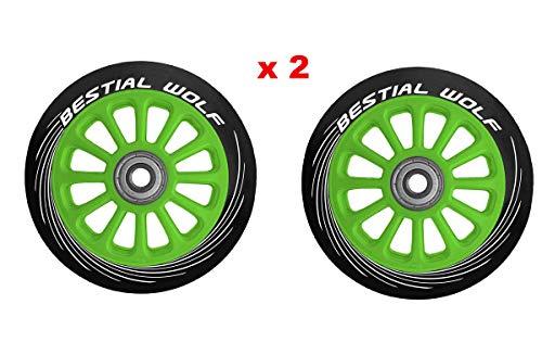Bestial Wolf Pilot XX2 Pack Dos Ruedas Originales Diámetro 100 mm para Scooter Freestyle (Verde)