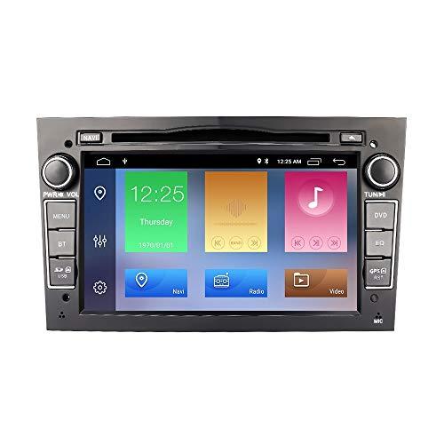 EUNAVI Android 10 Autoradio für Opel Vauxhall Astra H G J Vectra Antara Zafira Corsa Vivaro Meriva Veda, 7 Zoll unterstützt Lenkrad Bedienung USB SD RDS Bluetooth 2-DIN Radio (2G+32G, Schwarz)