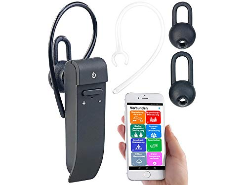 Callstel Sofortübersetzer: 2in1-Live-Übersetzer und In-Ear-Mono-Headset, kabellos, Bluetooth, App (Sprachübersetzter)
