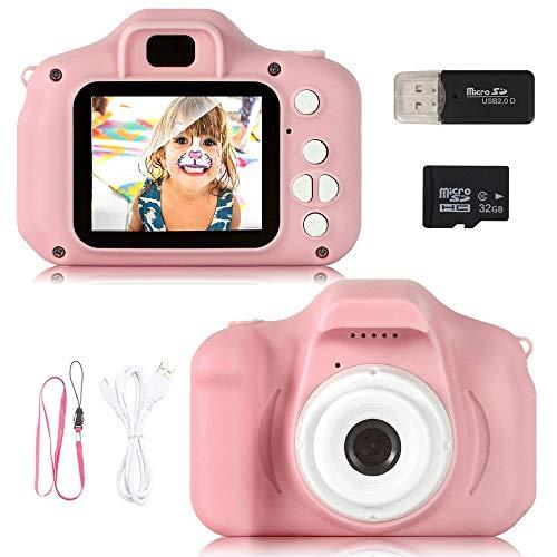 ZStarlite Cámara Digital para Niños, 1080P 2.0HD Selfie Video Cámara Infantil, Regalos Ideales para Niños Niñas de 3-10 Años, con Tarjeta TF 32 GB, Lector de Tarjetas (Rosa)