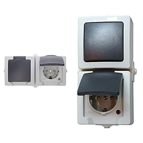 Kopp Nautic 2-Fach Steckdose Aufputz Feuchtraum, IP44, grau, 137056002 & 138556008 Nautic Steckdose und Schalter Kombination für Feuchtraum, grau