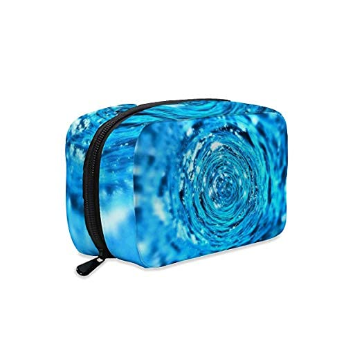 Water Aqua Tunnel Liquid Concentric - Bolsa de maquillaje con cremallera, bolsa de aseo de viaje, accesorios de cosméticos, bolso organizador de bolso grande portátil para mujeres y niñas
