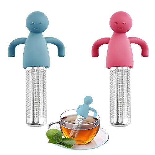 Yisscen 2 coladores de té, infusor de té para hojas de té sueltas, colador de té de acero inoxidable y silicona alimentaria, creativos y humanoide para filtrar o remojar el té