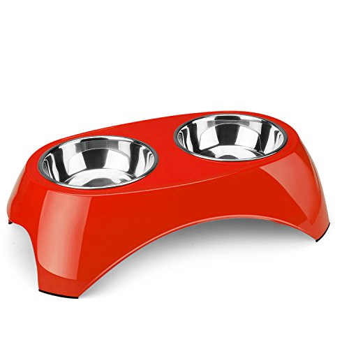 Flexzion Pet Feeder Bowls Double Stainless Steel (Set of 2) - Removable Raised Feeding Station Tray Dog Cat Puppies Animal Food Water Holder Container Dish Table Dinner Set with Elevated Stand (Red)