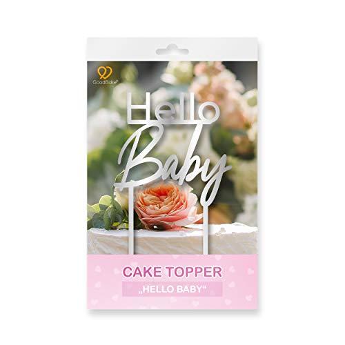 """GoodBake Cake Topper – """"Hello Baby"""" – silber – Torten-Deko / Kuchen-Deko – Tortenaufleger, perfekt zum Dekorieren für Taufe, Baby-Partys, Baby-Showers uvm."""